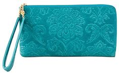 Hobo Handbags Damask Emboss Rylan Clutch - Teal Green