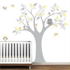 Vinyl Wall Decals Tree with chevron pattern-nursery children wall decals…