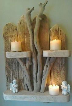 Handmade Unique Driftwood Shelves Solid Rustic Shabby Chic Nautical Art