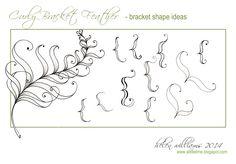 Curly Bracket Feather Shape Ideas~Zentangle