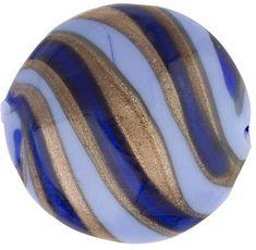 Murano Glass Bead Blue, Cobalt Missoni Disc 21mm