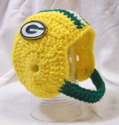 Green Bay Packers Crochet Baby Football Helmet Hat with Embroidered Logo 0-3 Months. $19.99, via Etsy.