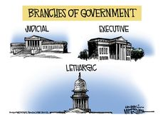 Mike Smith Cartoon - Branches of Government - Judicial, Executive, Lethargic