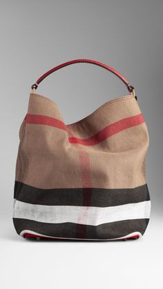 Medium Brit Check Hobo Bag   Burberry Amai, Mk Bags, Hobo Bags, Burberry aac76f2440