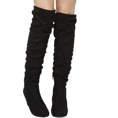 Chinese Laundry Upside Over The Knee Wedge Boots - Black ($80) ❤ liked on Polyvore featuring shoes, boots, black, over-the-knee boots, black thigh high boots, thigh boots, slouch boots, over the knee slouch boots and black slouch boots