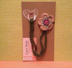 Crochet baby pacifier clip  via Etsy