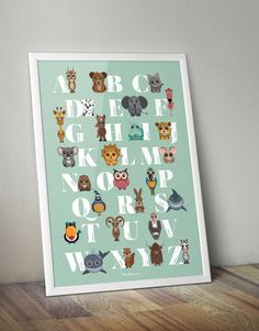 ENGLISH ALPHABET - colorful poster with the english alphabet and funny ANIMALS,  mint background, 50x70cm (19,75 x 27,5 inch.) , art print