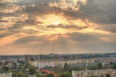 Poznan Poland, zachód słońca z perspektywy os.Przyjaźni [fot. M. Dezor]