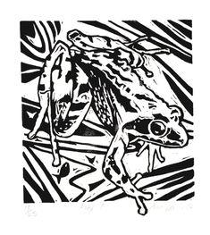 Frog - linocut - Ann Lewis