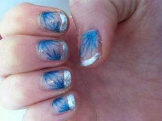 Silver and sparkly blue