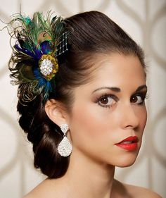 Royal Blue Peacock Hair Clip Bridal Head Piece Peacock Feather Fascinator Wedding Hairpiece Sapphire Vintage - Made to Order - JOSEPHINE LUX. $60.00, via Etsy.
