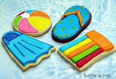Pool Party Cookie Favors Swimming Theme Cookies by rollinindough Galletas Cookies, Cute Cookies, Cupcake Cookies, Cupcakes, Crazy Cookies, Cookie Frosting, Flower Cookies, Heart Cookies, Pool Cake
