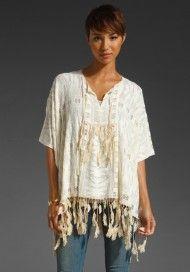 Anna Sui Feather Stretch Lace Tunic in Beige (cream)