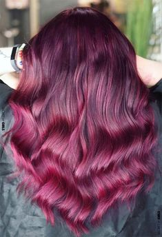 Your Plum Hair Color Guide: 57 Posh Plum Hair Color Ideas amp; Dye Tips The plum hair color sits somewhere between eggplant andburgundy hair, as it is a natural blend of red and purple. Plum Hair Dye, Pastel Purple Hair, Blue Ombre Hair, Bright Red Hair, Hair Color Purple, Burgundy Hair, Hair Dye Colors, Dyed Hair, Purple Tips