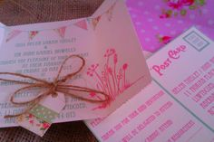 Pink and sage green invitations