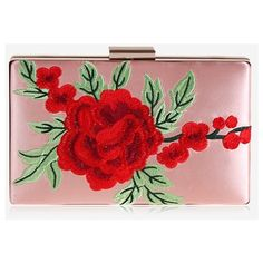 Pink Flower Embroidery Clutch Bag ($17) ❤ liked on Polyvore featuring bags, handbags, clutches, red clutches, red purse, red handbags, pink purse and pink clutches