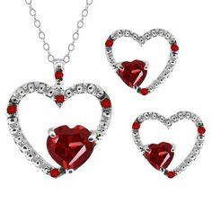 2.10 Ct Heart Shape Red Garnet Gemstone 14k White Gold Pendant Earrings Set $389.99 (Jan Them Set)