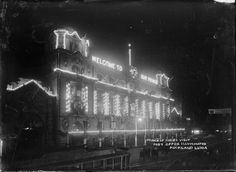 Auckland Post Office illuminated for visit of the Prince of Wales