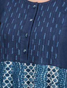 Indigo-Ivory Dabu-printed Cotton Kalidar Kurta with Embroidered Yoke