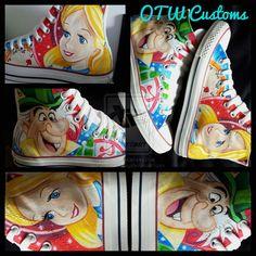 Alice in Wonderland Custom Converse by VeryBadThing