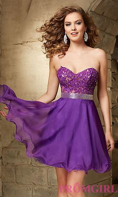 Short Strapless Sweetheart Dress by Mori Lee at PromGirl.com