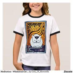 Meditation - Whimsical Cat Art Ringer T-Shirt by Dora Hathazi Mendes. Cats knows best when is about meditation, relaxing mind and body. They exactly know when to switch off the engine, and when they need to recharge the batteries. Purring, is their feline version for chanting, and although we don't know exactly why they do it, the effect is obvious, the whole world calm down around them, even us just being in their aura, and listening their monotone chant. Cat Paintings by #dorahathazi