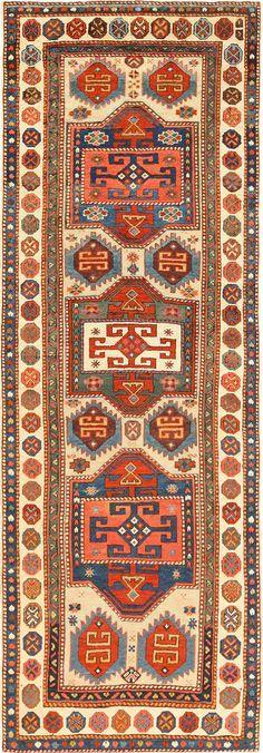 Antique Tribal Caucasian Shirvan Runner Rug 49093