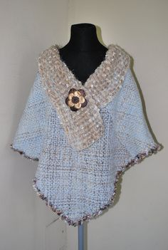 NEW Light blue / beige hand woven latin american by Cozyyarn, $98.00