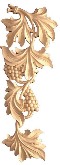 "Scroll / 20-3/8""HX 7-7/8""WX 1""D - carved wood tables, scroll appliques, hand curved wooden flowers, large wood sculpture, decorative wood applique."