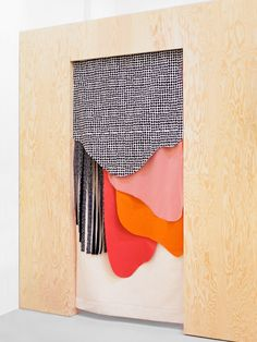 Instead of one piece of fabric as a doorway divider or curtain, use multiple lengths & shapes to create a multi layered collage! Nadine Goepfert