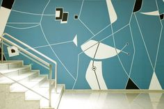 Brasilia Palace Hotel, detail of wall painting by Athos Bulcao, architect: Oscar-Niemeyer,