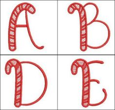 """""""Candy Cane Alphabet"""" YUM YUM these capital letters look good enough to eat! Ultra fun for stitching onto stockings and more! 3x3!"""