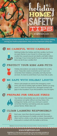 BrightNest Holiday Home Safety Tips Home Safety Tips, Home Security Tips, Safety And Security, Safety Pins, Family Safety, Child Safety, Fire Prevention, Injury Prevention, Electrical Safety