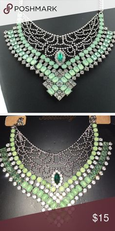 🆕 GREEN NECKLACE Alloy and resin and rhinestone materials make this pretty necklace. Jewelry Necklaces