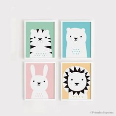 Printable Nursery Art Set of 4 Poster Bear Bunny Lion Tiger - Baby room Wall art Child room decor Digital file INSTANT DOWNLOAD