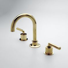 Henry Gooseneck Three Hole Deck Mounted Lavatory Faucet Style #: HNLS30 Available in Antique Brass, Antique Copper, Architectural Bronze, Chrome, Gold, Matte Gold, Matte Nickel, Nickel, Shiny Copper, Sovereign and Unlacquered Brass