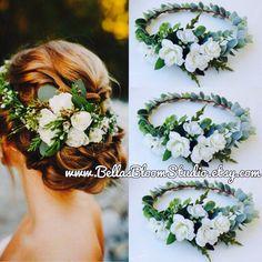 White bridal headpieces Bridal Hair Vine, Wedding Headband, Boho Headpiece bridal headpiece bridal flower crown white flower crown etsy by BellasBloomStudio on Etsy