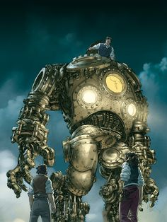 A guy in a giant robot. steam punk giant robot by J. Robots Steampunk, Steampunk Artwork, Steampunk Characters, Steampunk Gadgets, Steampunk City, Victorian Steampunk, Steampunk Necklace, Fantasy Characters, Machine Volante