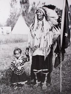 Chief Plenty Coups with Daughter