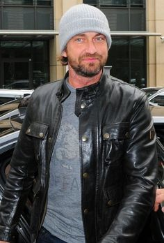 Gerard Butler in Leather Jacket