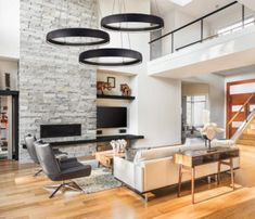 Modern suspended luminaire HALO Kuzco in a living room on the ceiling cathed . Rustic Salon, Home Salon, Prairie School, Salon Design, Home Staging, Salon Ideas, Sweet Home, New Homes, Living Room