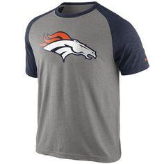 Nike Denver Broncos Big Play Raglan T-Shirt - Ash/Navy Blue