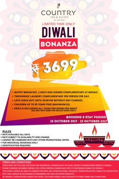 Book Your Hotel stay with us on this #Diwali only at 3699 inclusive all Taxes & Enjoy Your breakfast,Lunch,Dinner with #Diwali_Bonanza Offer
