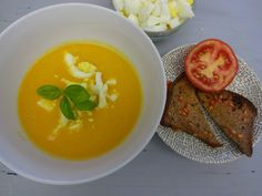 Carrot soup with tomato toast and boiled egg Carrot Soup, Boiled Eggs, Food Preparation, Crocodile, Carrots, Toast, Frozen, Veggies, Healthy Eating