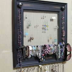 Jewelry Organizer Display RED Picture Frame wBlack Knobs 15x13