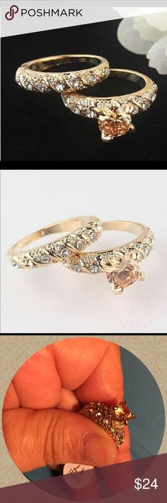 Austrian Crystal 18K Gold Filled Round Cut Ring NWT-This exquisite ring is made of Austrian Crystal and is 18K Gold Filled! The weight is about 20g. It comes in sizes 7,8,9. This is a size 7. This is 2 Rings as shown. 💯% Brand New! Feel free to ask questions. Thank you for shopping my closet! Jewelry Rings