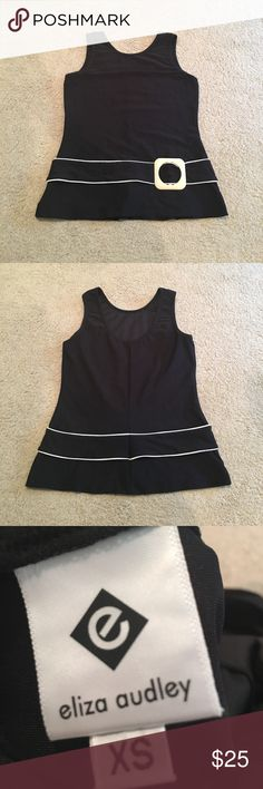 Black fashion tank Stretchy fabric with belt eliza audley Tops Tank Tops