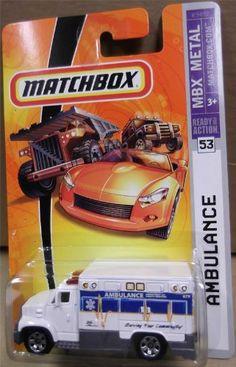 Mattel Matchbox 2007 MBX Metal 1:64 Scale Die Cast Car # 53 - White Ambulance with Blue Stripe by Mattel. $14.44. White & Blue AMBULANCE Matchbox MBX Metal Series 1:64 Scale Collectible Die Cast Car #53. Mattel Matchbox 2007 MBX Metal 1:64 Scale Die Cast Car # 53 - White Ambulance with Blue Stripe