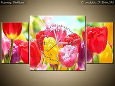 Tlačený obraz s hodinami Žltý tulipán 80x40cm ZP1255A_3AX