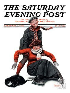 Skating Lesson Saturday Evening Post Cover, February 7,1920 Giclee Print by Norman Rockwell at Art.com